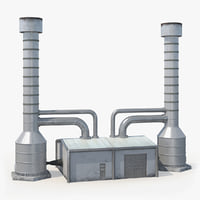 geothermal power plant cooling tower 3D model