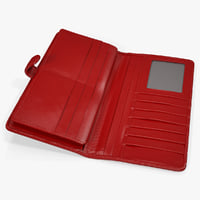 leather women long wallet 3D model