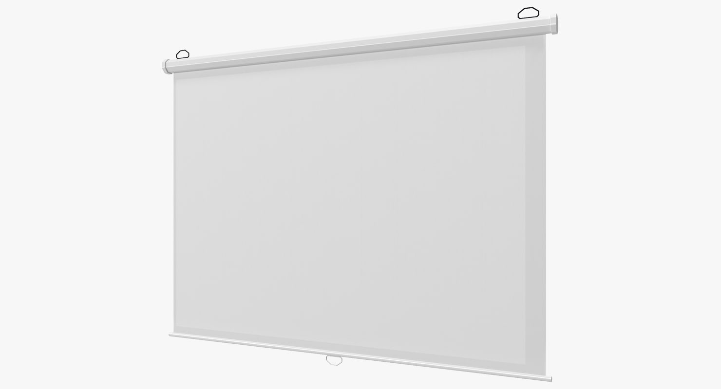 manual pull white projection screen 3D