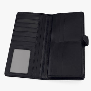 open long wallet black 3D model