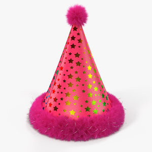 3D model party cone hat fur