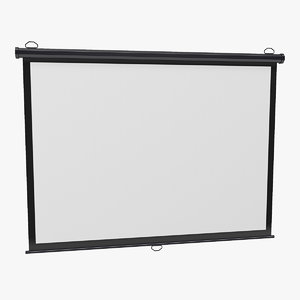 pull projection screen wall 3D model