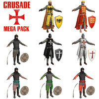 pack crusaders warriors sword 3D model