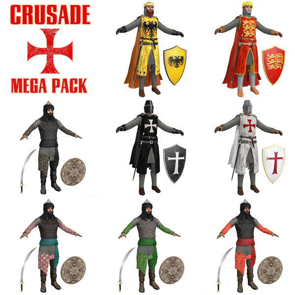 pack crusaders warriors sword 3D model