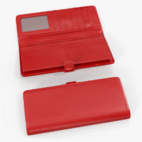 women long wallet red leather 3D