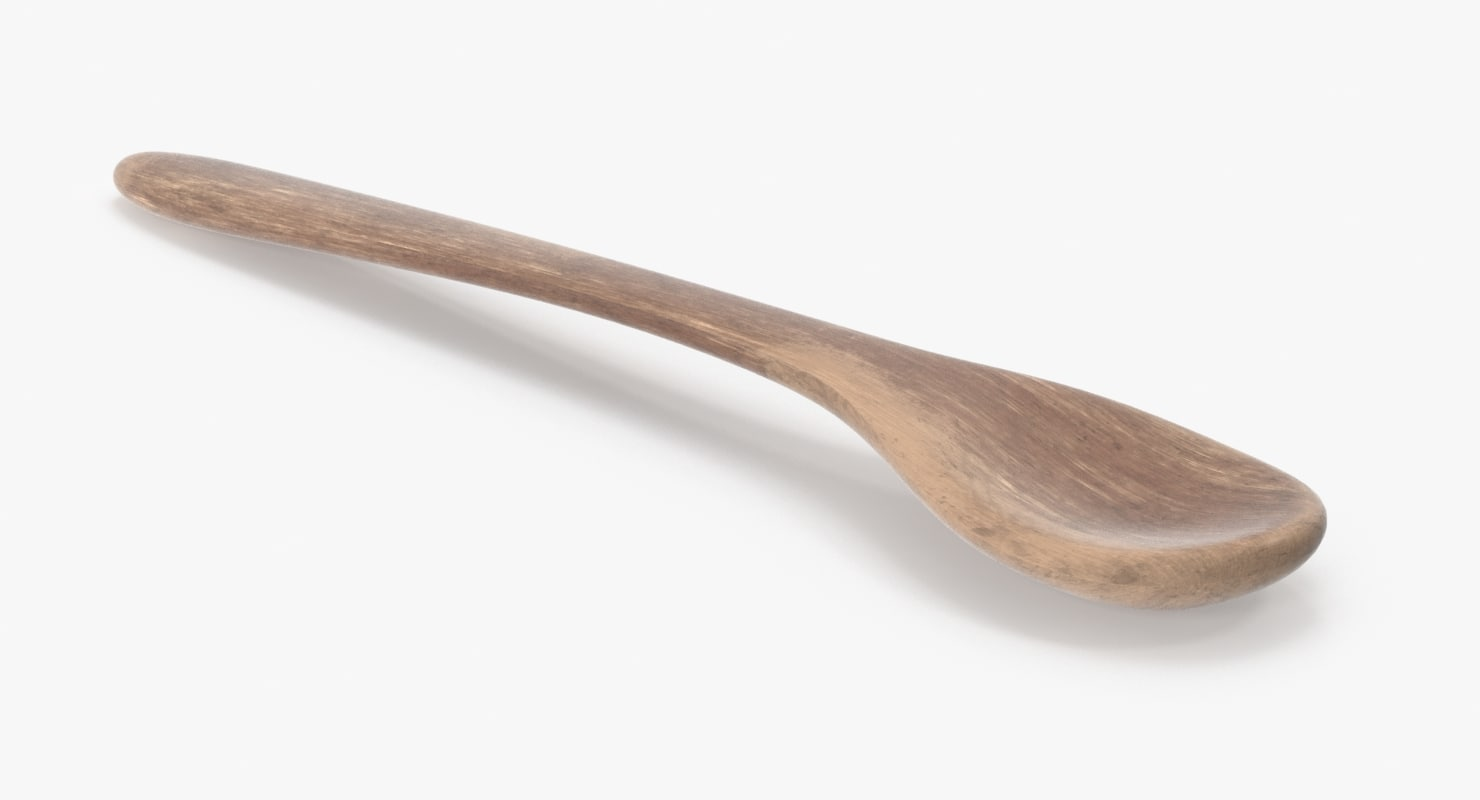 photorealistic wooden spoon model