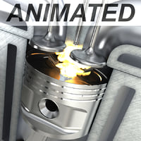 3D diesel engine cylinder animation