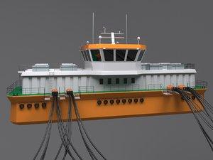 3D model salmon barge ship
