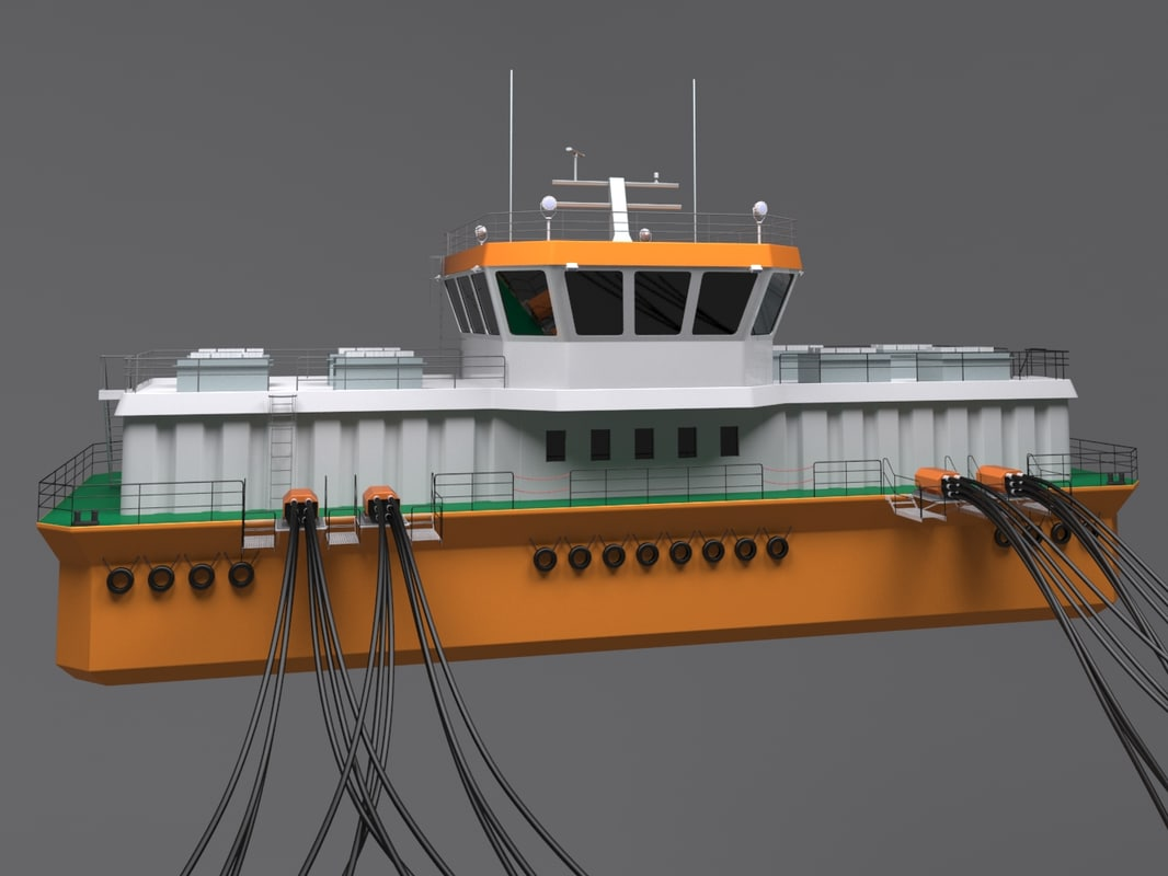 3D model salmon barge ship
