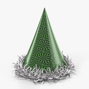 fringed foil party hat 3D model