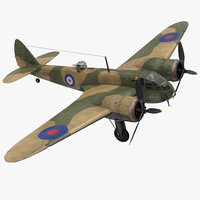 British Light Bomber Aircraft Bristol Blenheim 3D Model