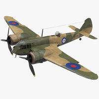 British Light Bomber Aircraft Bristol Blenheim Rigged 3D Model