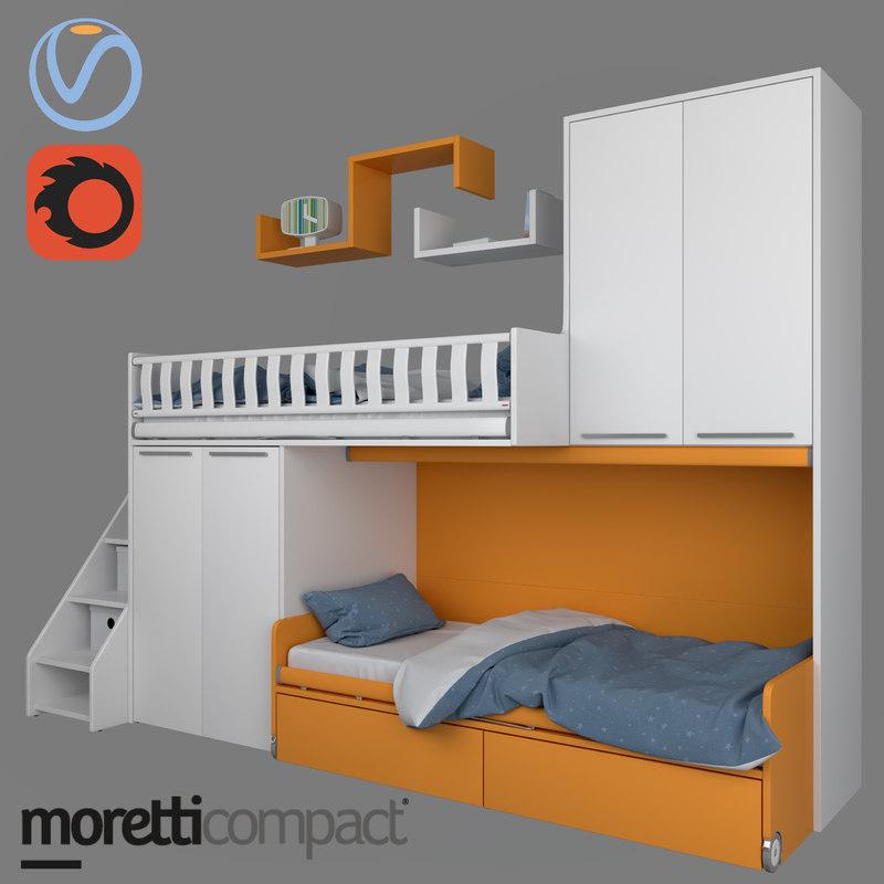 3D children bed boxes model
