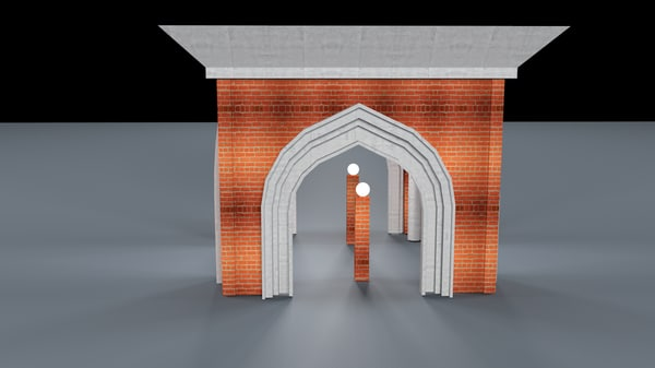 3D red brick dome house