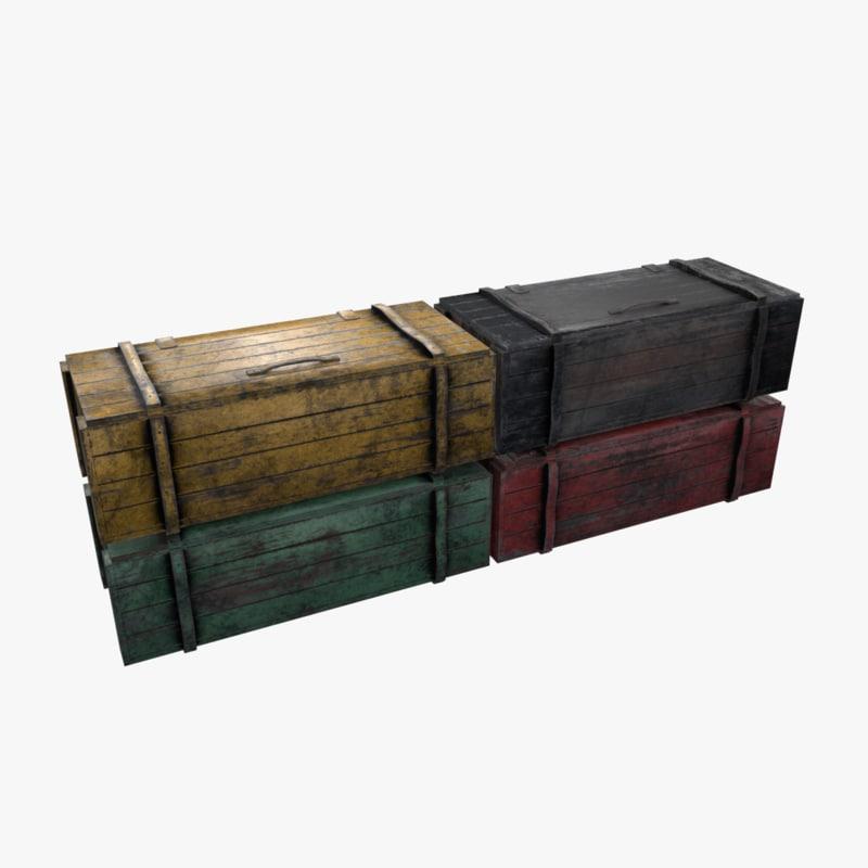 3D wooden crates model