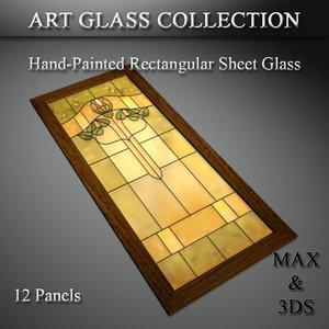 art glass set 19 3D model