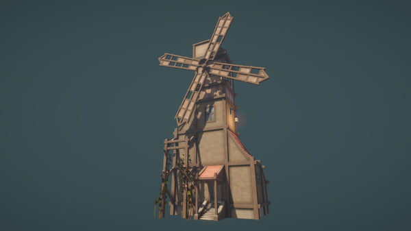 3D low-poly windmill model