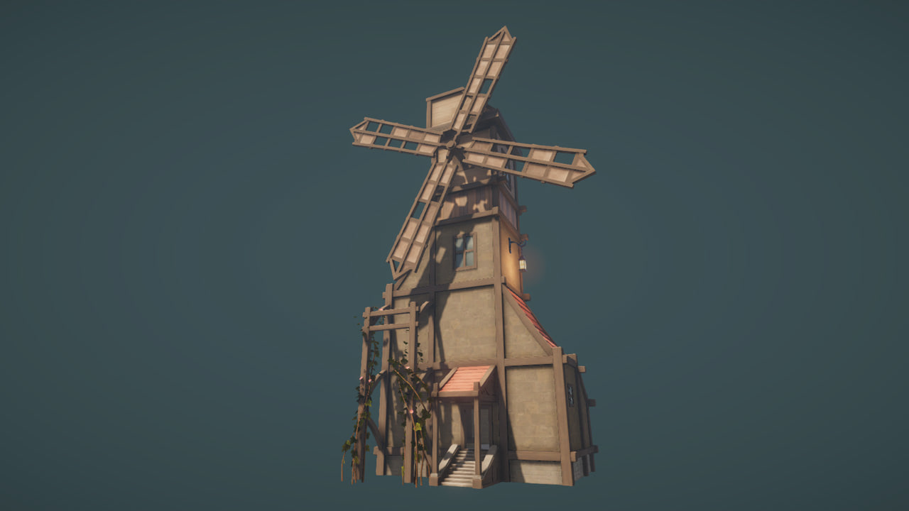 3D low-poly windmill model