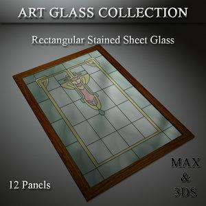art glass set 20 3D model