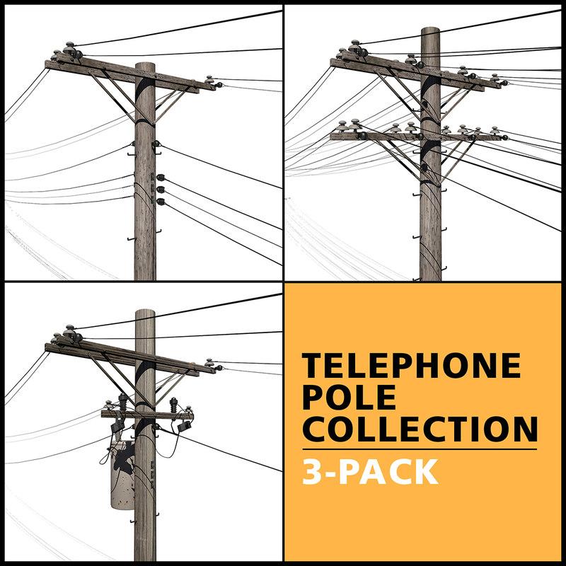 telephone pole 3D model