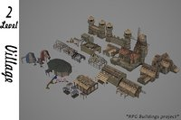 medieval village buildings 2 3D model