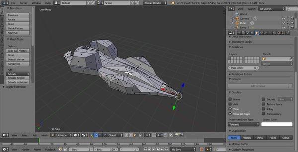 3D spaceship vintage old