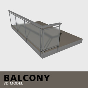 balcony frosted glass 3D