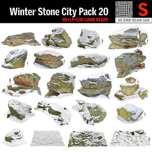 rock cliff winter 3D model