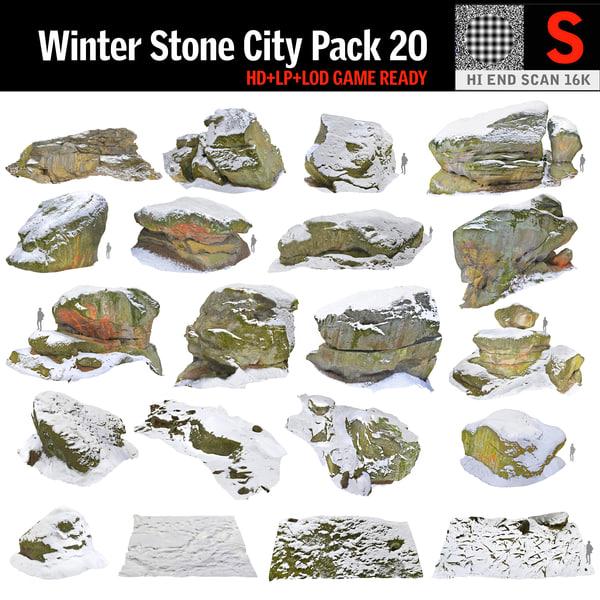 rock cliff winter 3D model