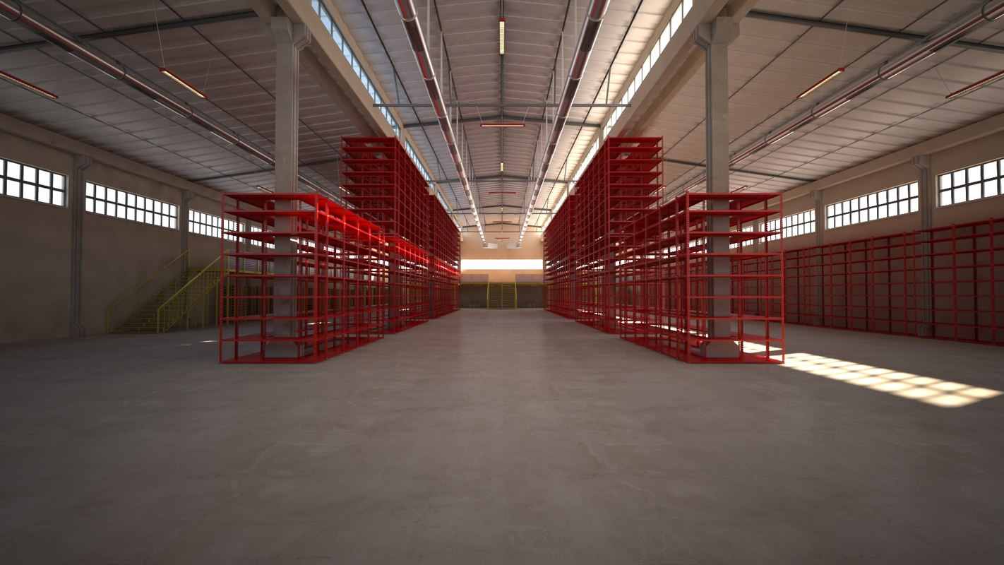 warehouses factory building scene 3D model