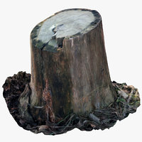 3D oak stump 3 model
