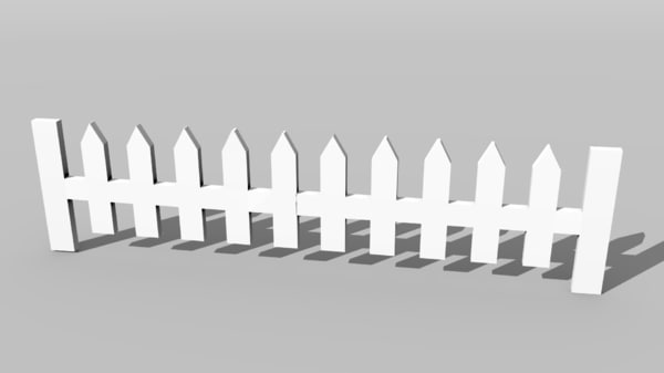 white fence picket 3D model