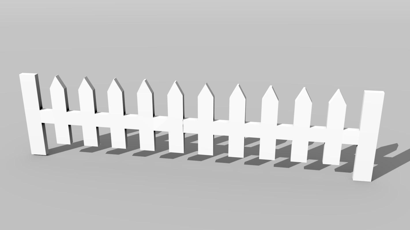 white fence picket 3D model
