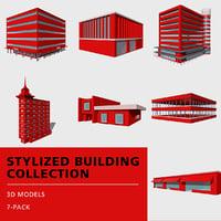 stylized buildings 3D model
