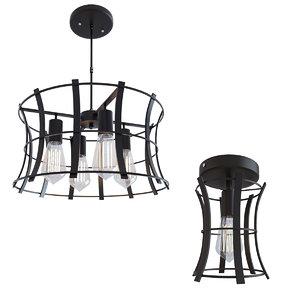 3D loft medieval torch chandelier model