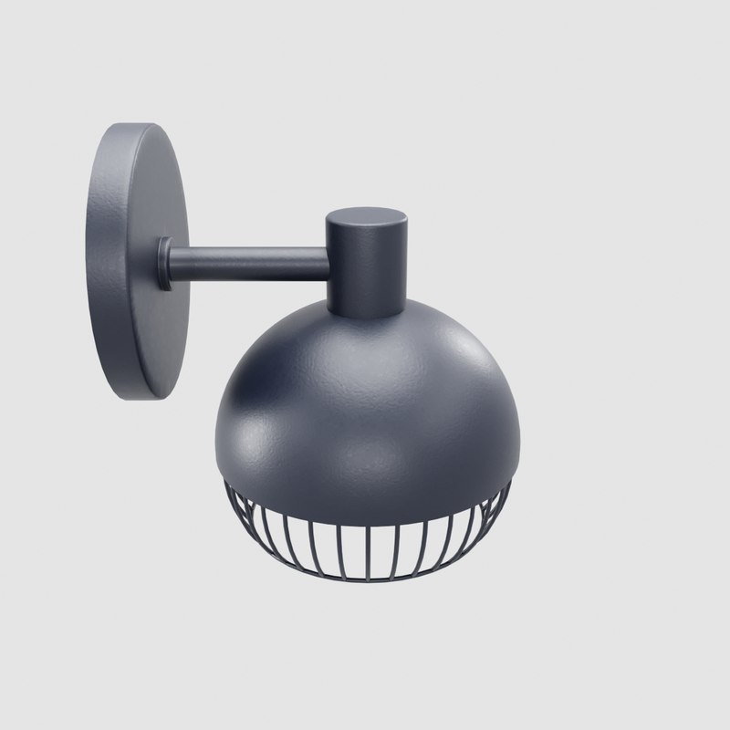 cage matte black sconce 3D