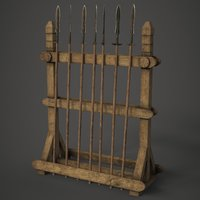 3D model spear weapon rack