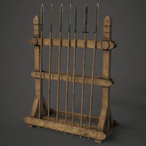 3D model spear weapon rack
