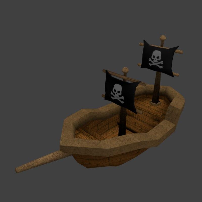 3D pirate ship cartoon model