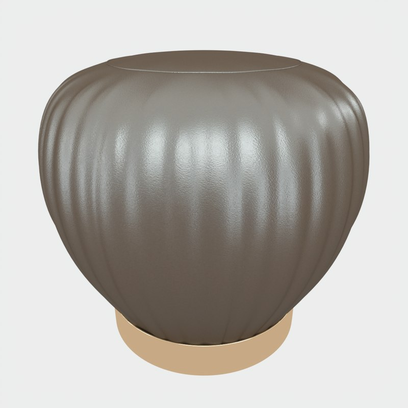 pleated grey ottoman-stool 3D model