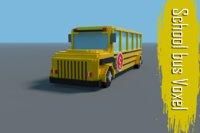 school bus voxel low-poly 3D