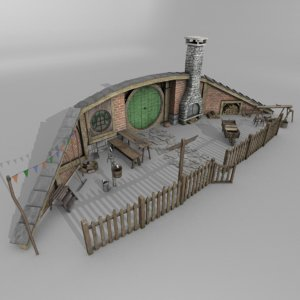 3D model halfling home