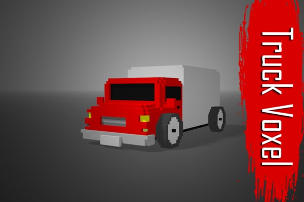 3D truck voxel low-poly