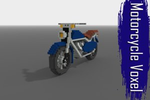 motorcycle voxel low-poly 3D model