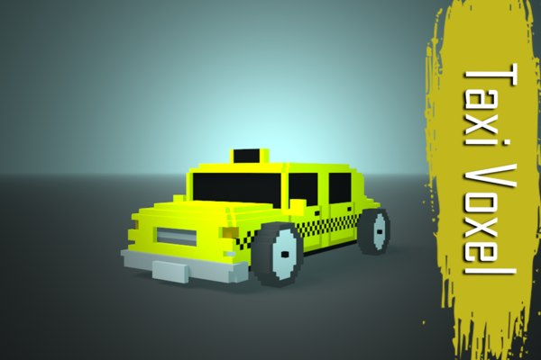 3D model taxi voxel low-poly