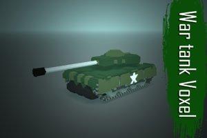 war tank voxel low-poly 3D model