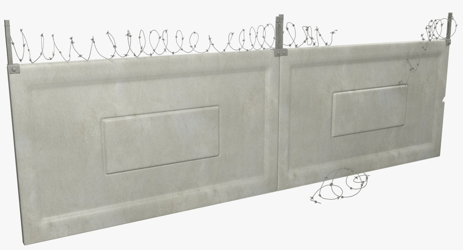 concrete fence segments 3D model
