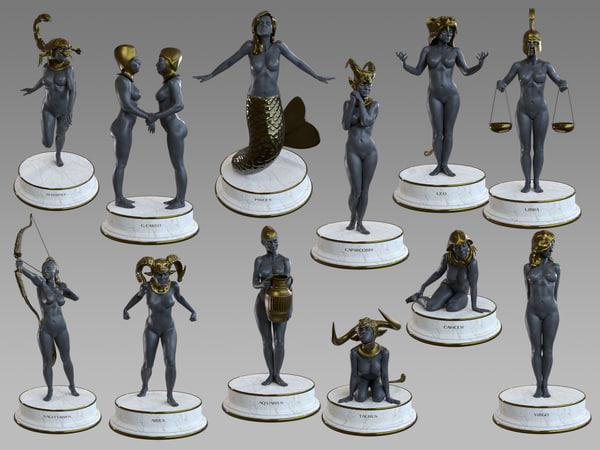 female zodiac signs modeled model