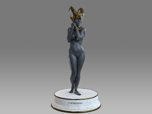 female zodiac sign capricorn 3D