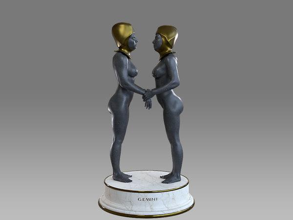 3D female zodiac sign gemini model